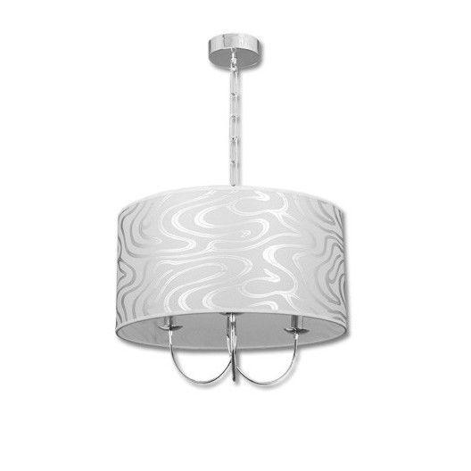 Lámpara moderna cromo tres luces cristal pantalla textura ...