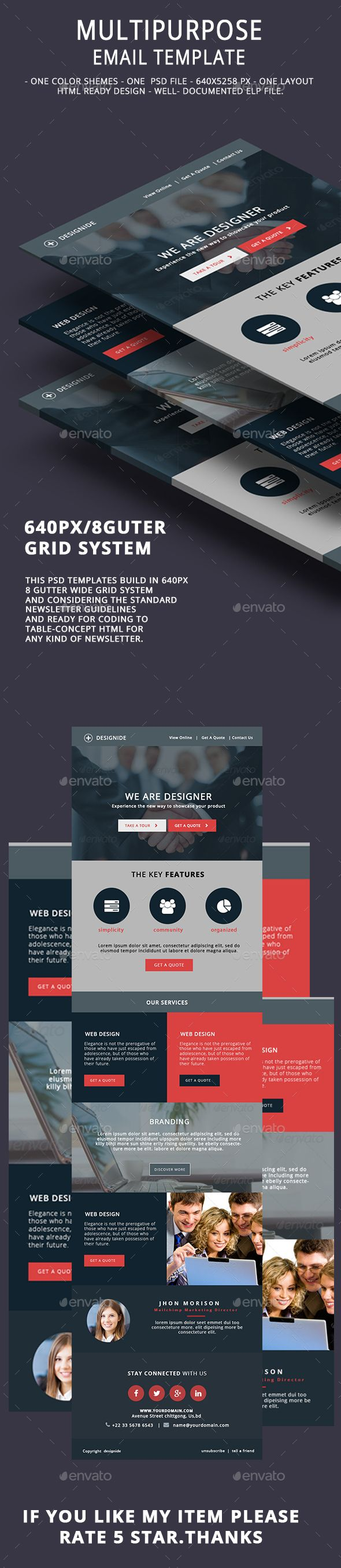 Multipurpose Email Template V13 | Pinterest | Template, Corporate ...
