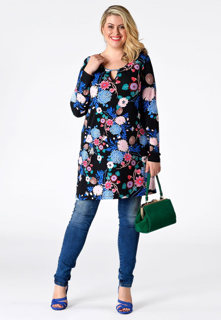 Shirt neck slit nina a long shirt in a vibrant flower design with