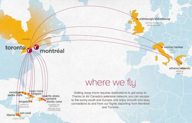 Air Canada Network Map Air Canada rouge 6:2013 Route Map | Air canada rouge, Route map