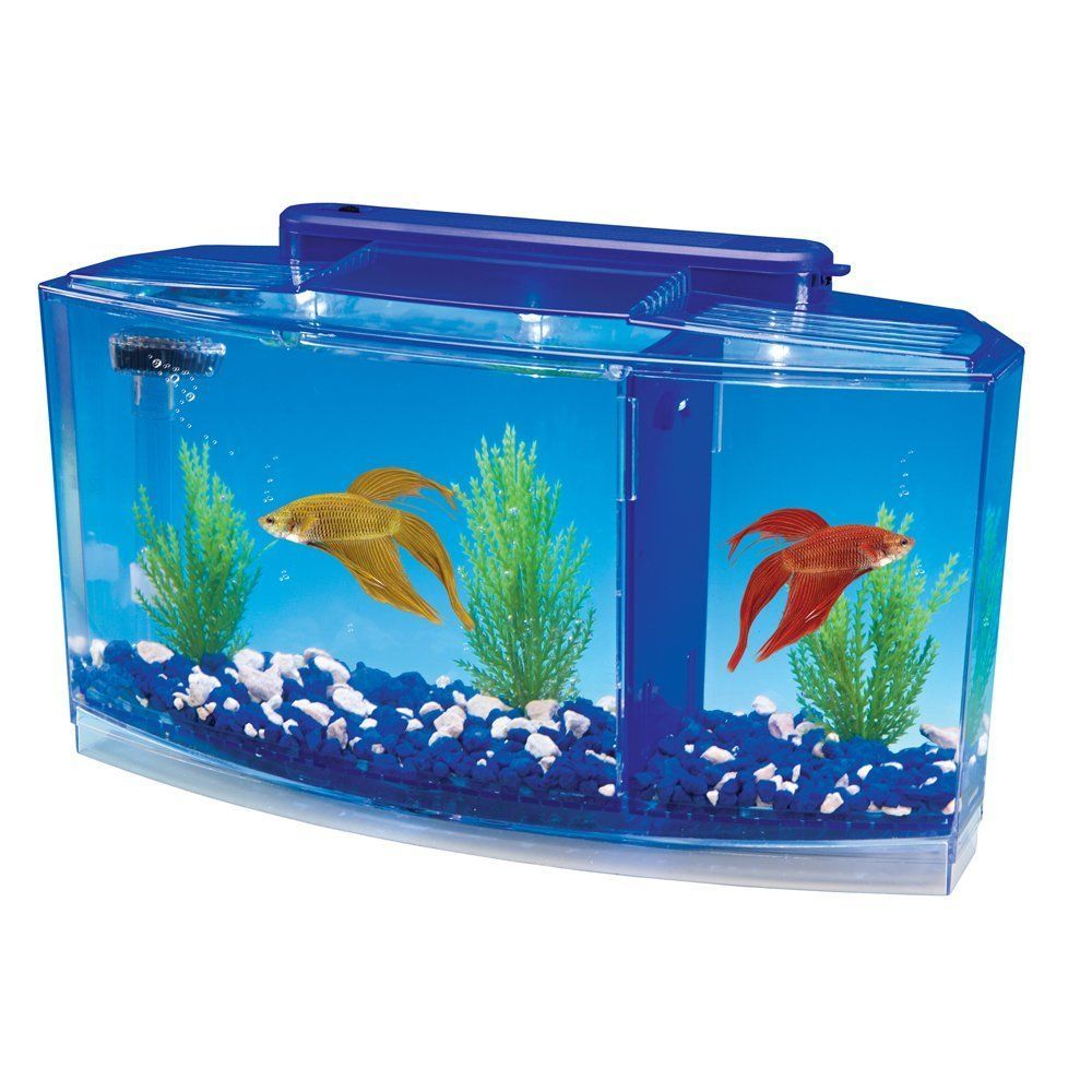 Fish aquarium lighting systems - Deluxe Aquarium Tank 0 7 Gallon With Two Color Light System And Opaque Dividers Pennplax