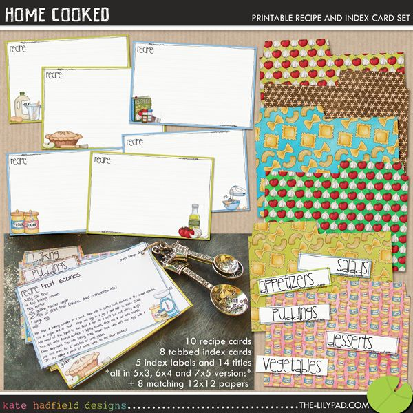 The Lilypad Printables Printables Home Cooked Cookbook Design Recipe Cards Homemade Cookbook