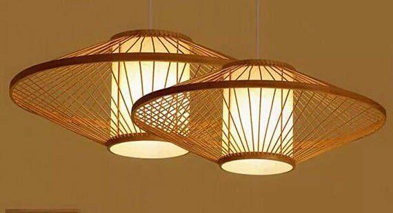 Moderne Lampen 56 : Plafonnier eclairage lampe bambou tissé ouvert style naturel style