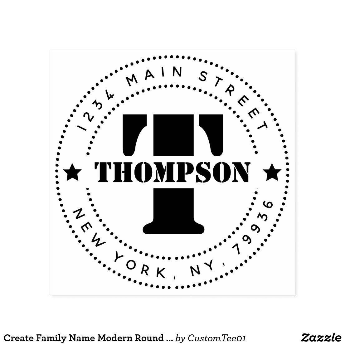 Custom BLACK Round Self Inking Rubber Stamp with 2 NAMES Designed