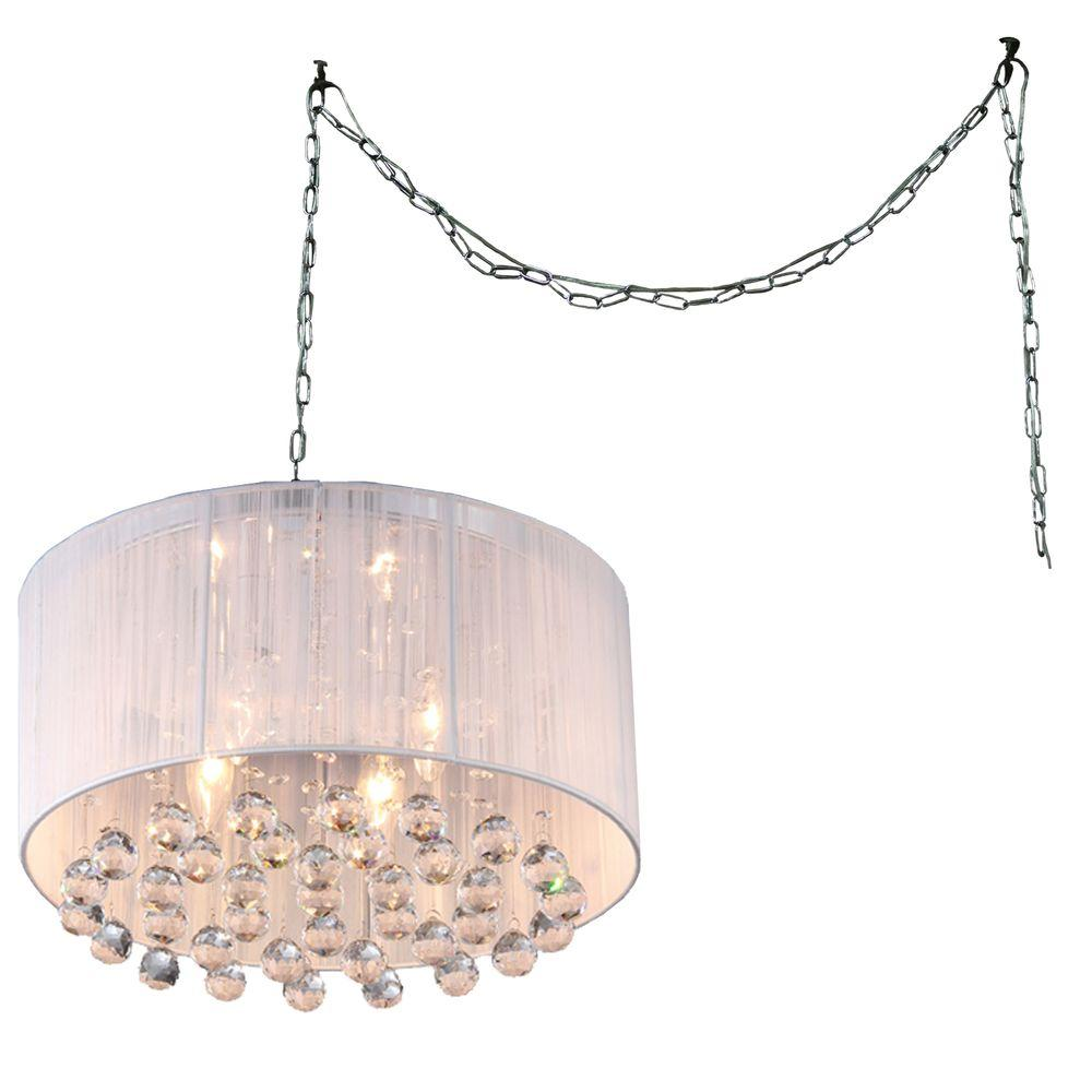 Mineya 4 Light Chrome Indoor White Fabric 17 In Crystal Swag Chandelier With Shade Rl8057 Swag The Home Depot Swag Chandelier Warehouse Of Tiffany Swag Lamp