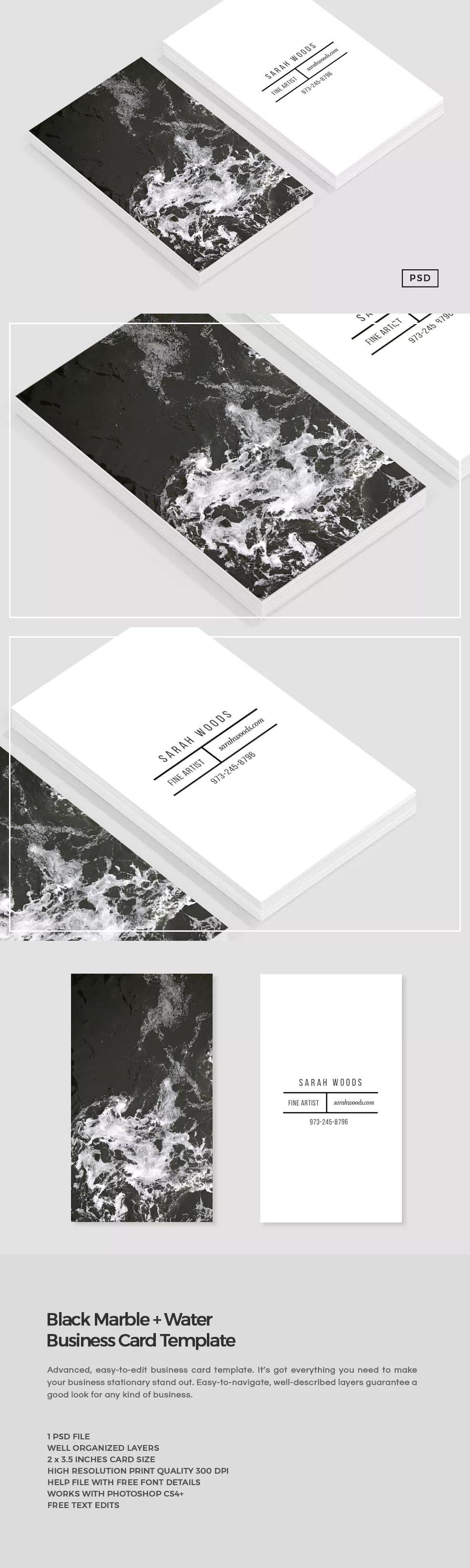 Black Marble Business Card Template PSD   Kartvizit   Pinterest ...