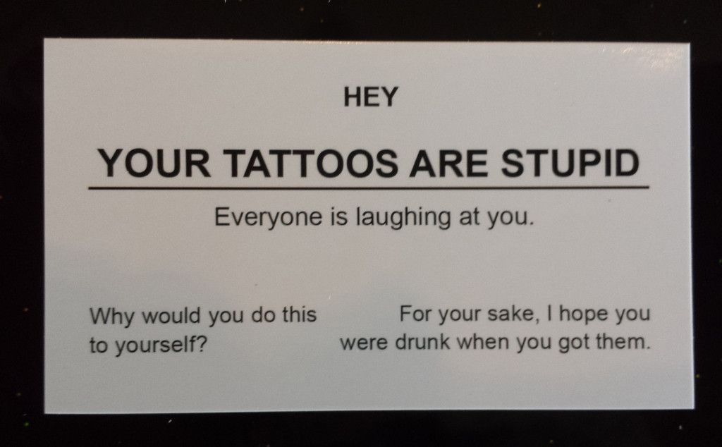Your Tattoos Are Stupid Business Cards - 5 Pack | Offensive Business ...