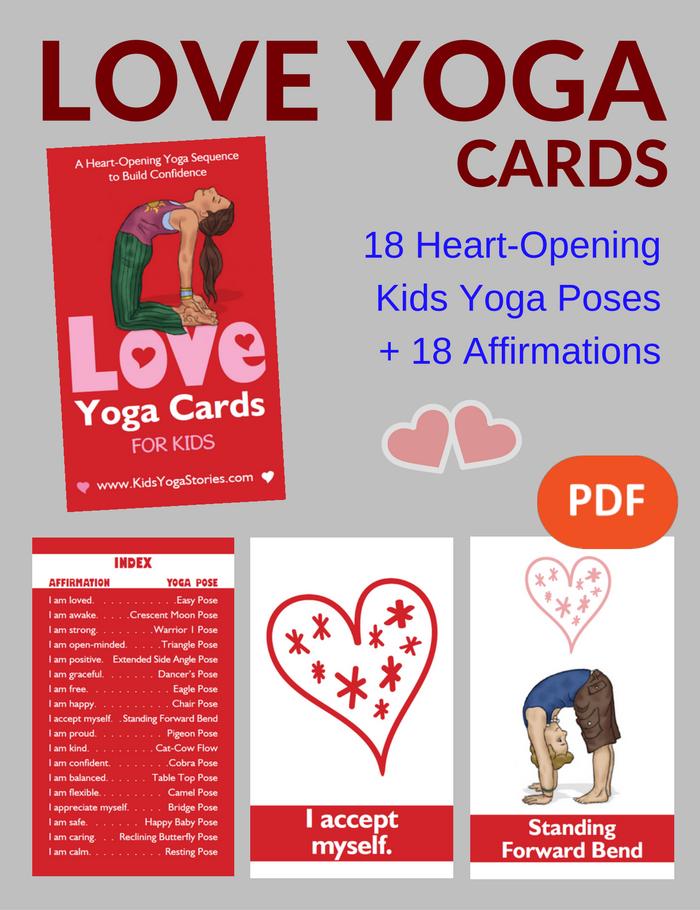 LOVE Yoga Cards for Kids | Yoga | Yoga for kids, Kids yoga