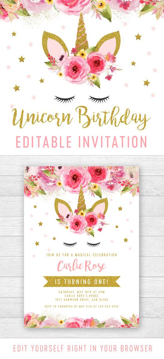 Editable unicorn birthday party invitation pink gold glitter editable unicorn birthday party invitation pink gold glitter printable personalize instantly arte stopboris Image collections