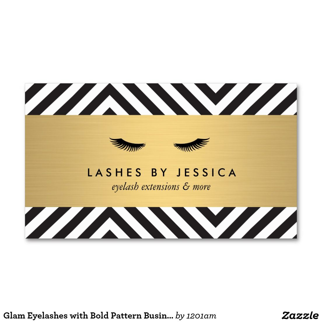 Glam eyelashes with bold pattern business card template for lash extensions ready to for Eyelash extension business cards