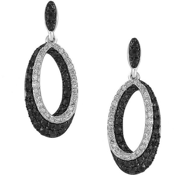 Effy Caviar  and White Diamond 14K White Gold Drop Earrings, 0.95 TCW ($1,620) ❤ liked on Polyvore featuring jewelry, earrings, black, drop earrings, 14 karat gold hoop earrings, white diamond hoop earrings, white gold earrings and white gold jewelry