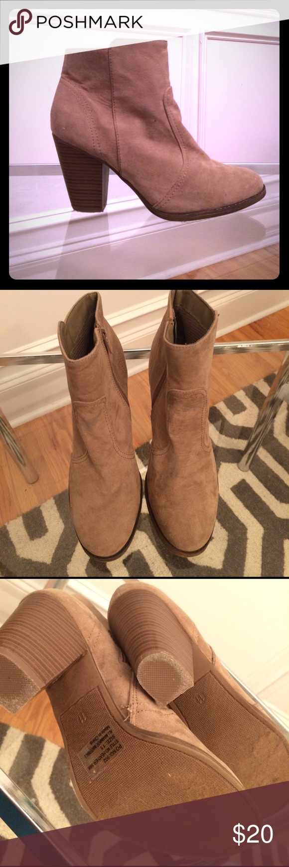 Tan suede booties Breckelle's - size 11 - made in China - zip up - ankle heeled booties - tan - some faint staining on front from wearing with jeans (pictured) - otherwise great condition! Breckelles Shoes Ankle Boots & Booties