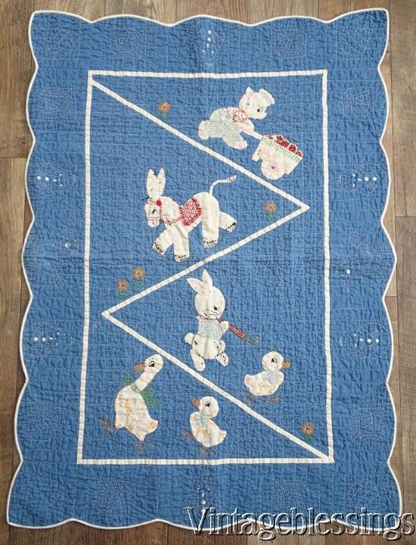 Adorable Vintage 30s Applique Baby Crib Quilt Bear Bunny