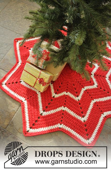 DROPS Christmas: Crochet DROPS carpet with stripes and zig-zag ...