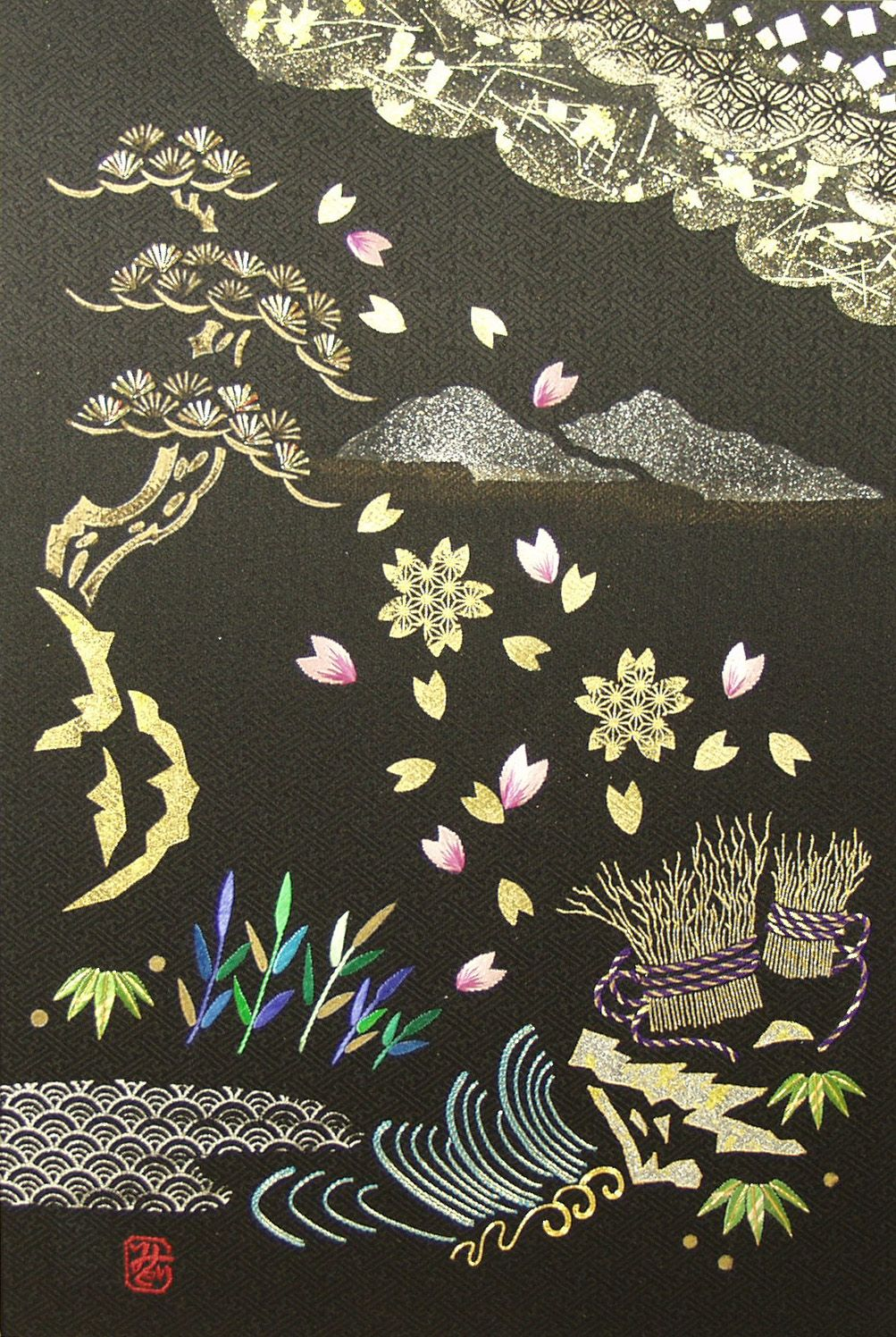 9 carps scheme of embroidery of a thematic picture (photo)