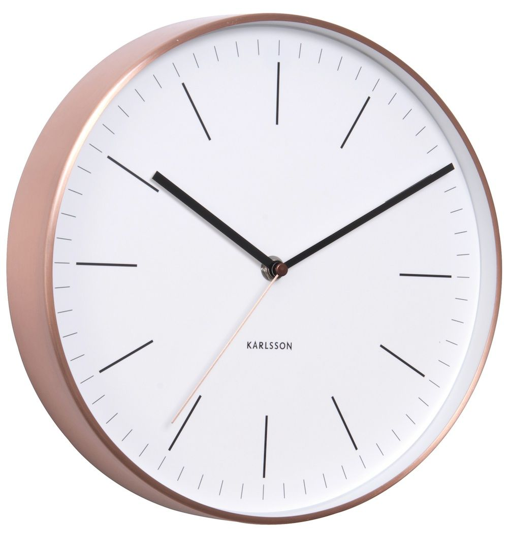 Karlsson Wall Clock; White with copper case