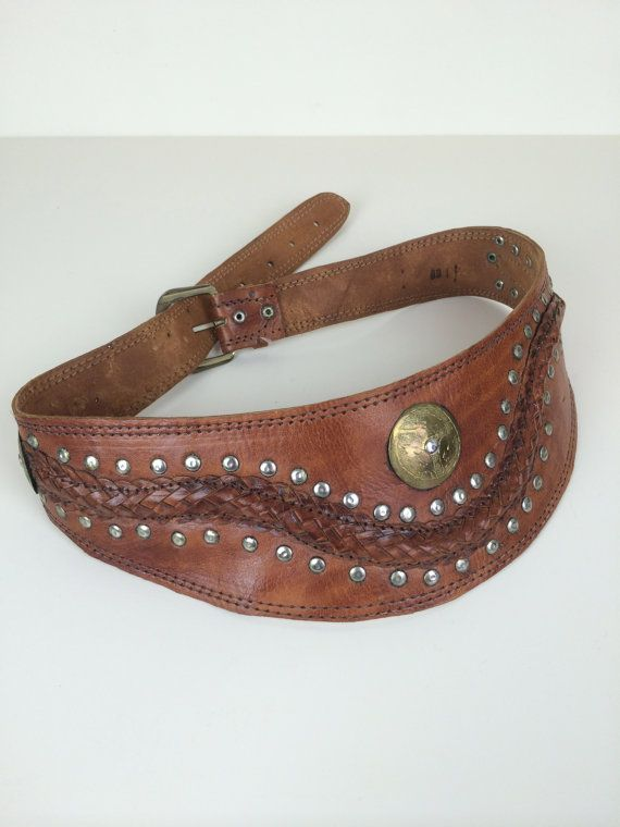 brown leather wide Moroccan belt w etched medallion, studs