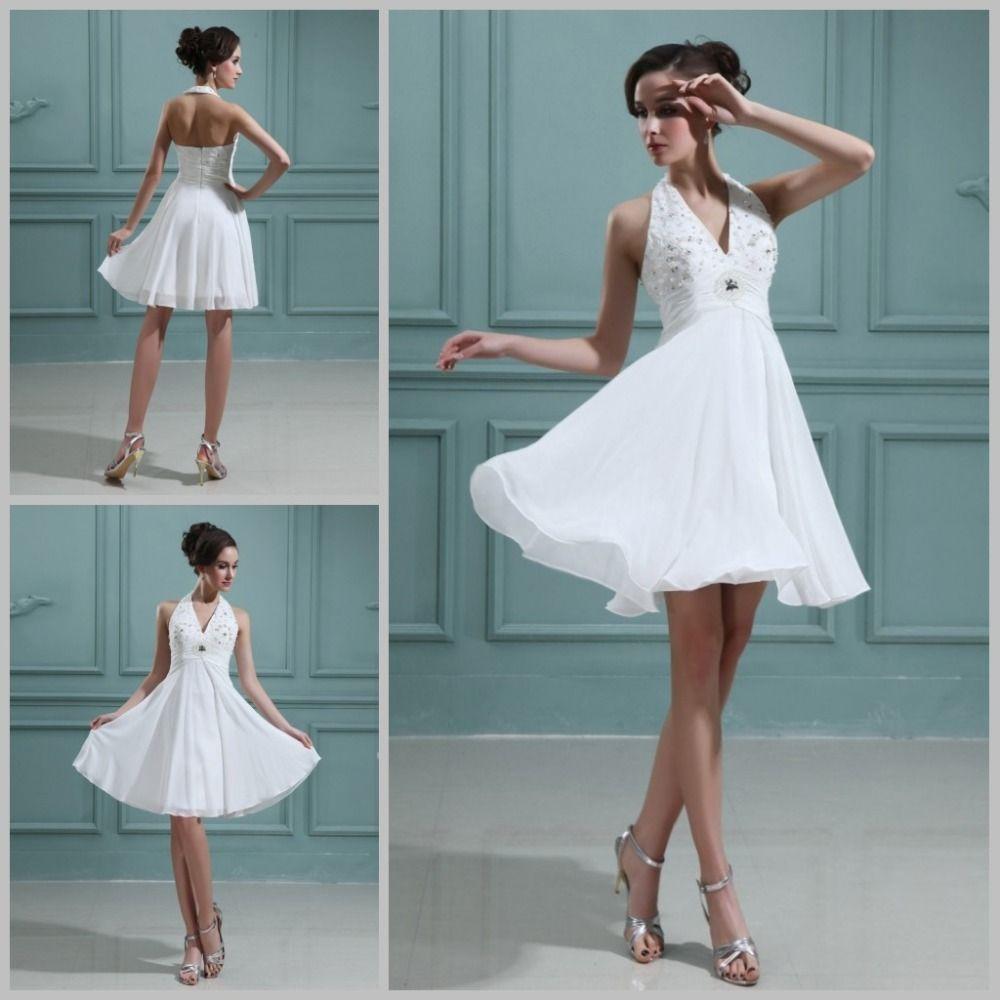 Click to Buy << Romantic Wedding Dress Beach Short Halter Mini ...