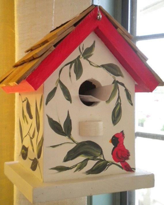 Cardinal hand painted bird house by catherineklassen on - Bird house painting ideas ...