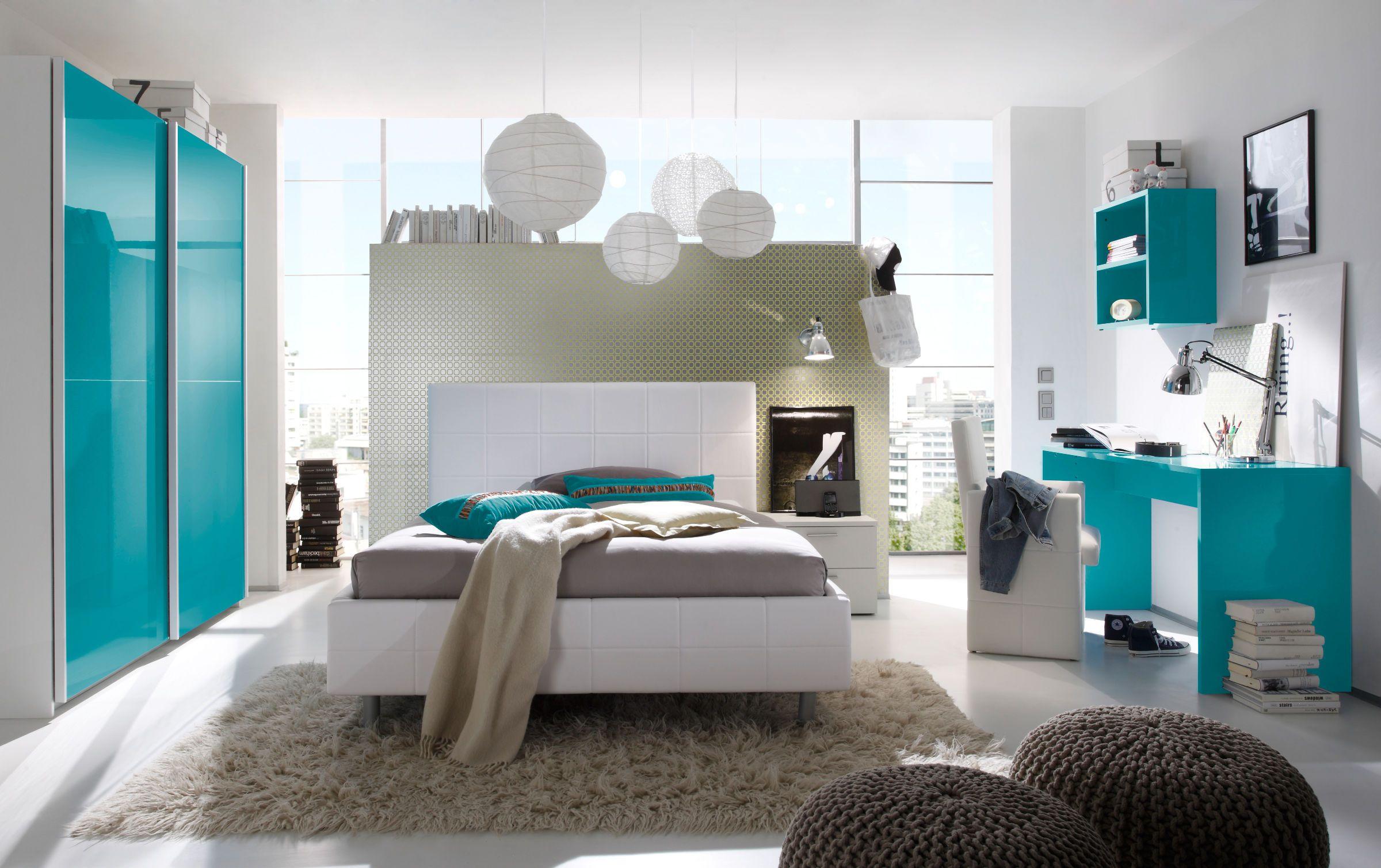 Schlafzimmer Weiß / Türkis Hochglanz Lack Italien