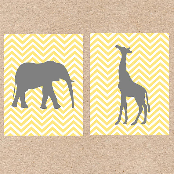 Chevron Jungle Animals Nursery Wall Art DIY Printable in Gray and ...