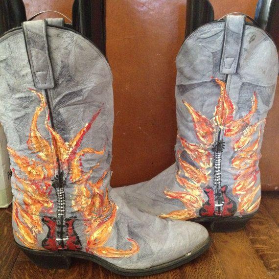1e4bfd3f5d5 SALE Hand painted guitar flames womens 8 rocker 80s by KolbiJean ...