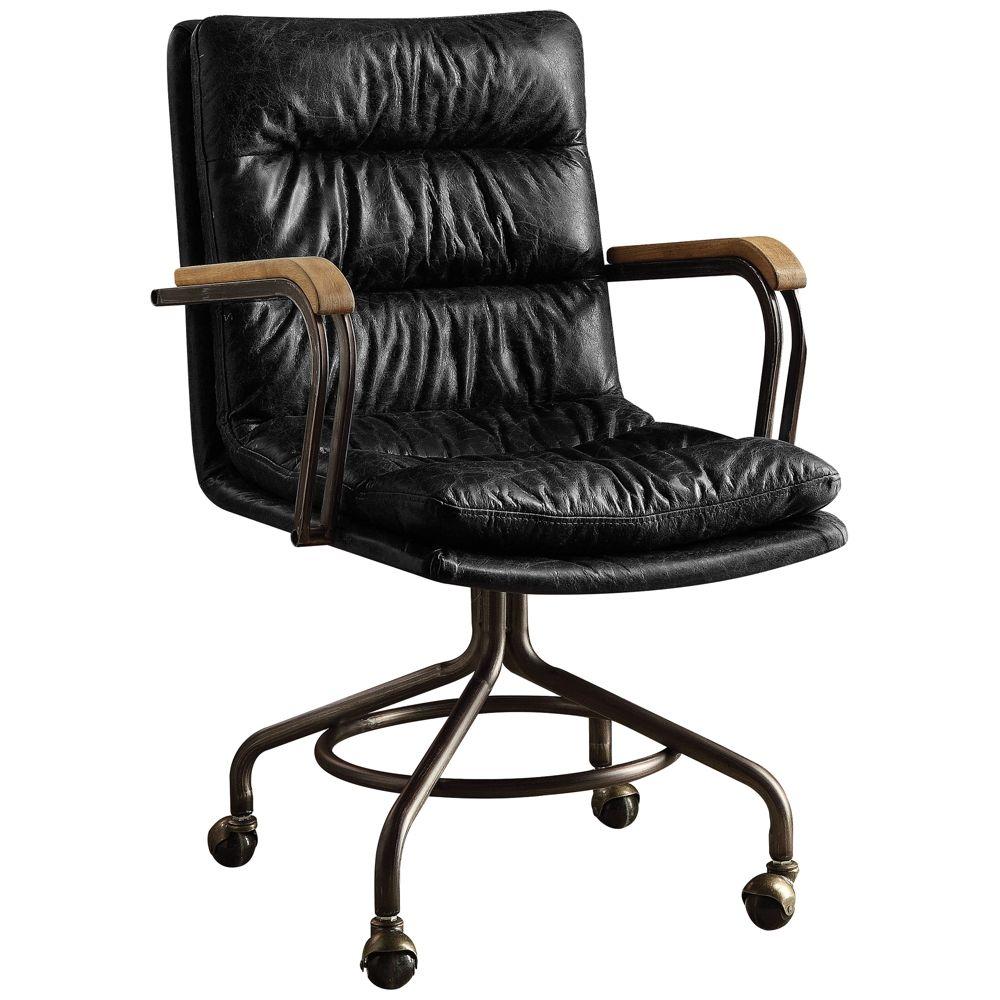 Best Hedia Vintage Dark Blue Top Grain Leather Swivel Office 400 x 300