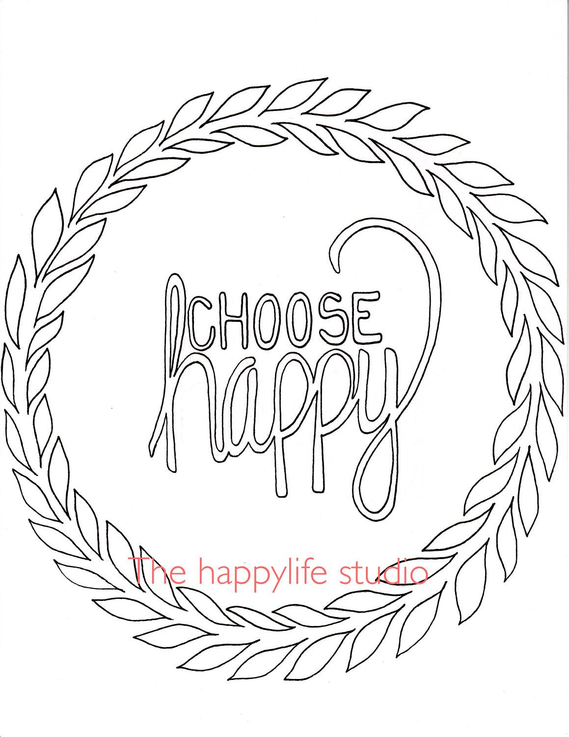 Choose Happy Coloring Page, Simple Adult Coloring Page, Coloring ...