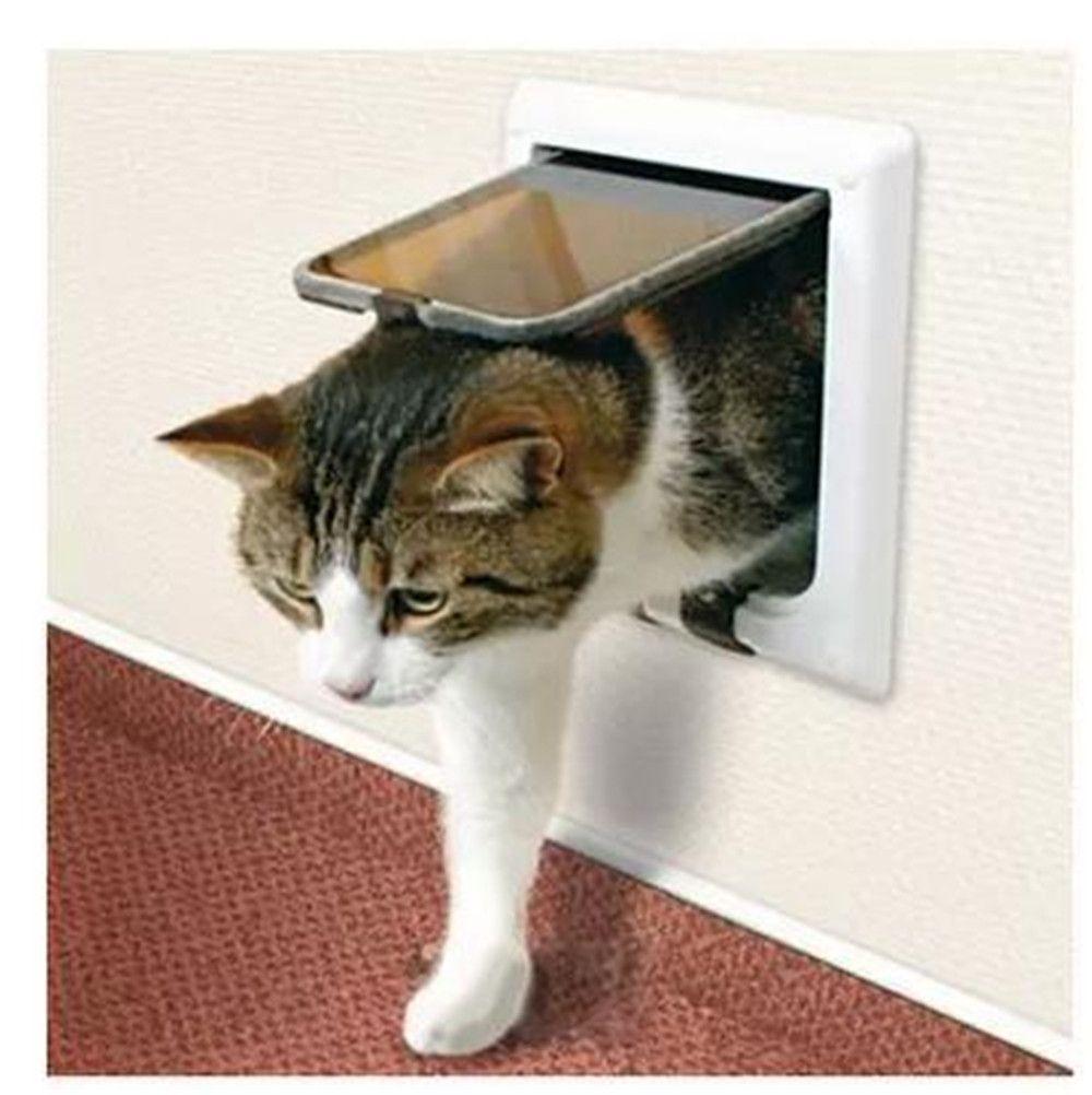Cat Door 4 Way Lockable Entrance Safe Plastic Frame Pet Door Cat Pet Supplies