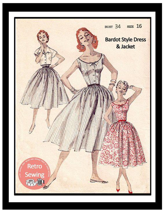 1950s Bardot style Dress and Jacket Vintage Sewing Pattern ...