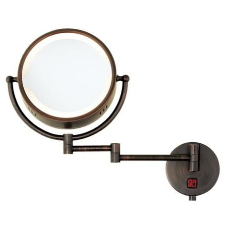 Oil Rubbed Bronze Swing Arm Plug-In Lighted Vanity Mirror Lighting Pinterest Oil rubbed ...