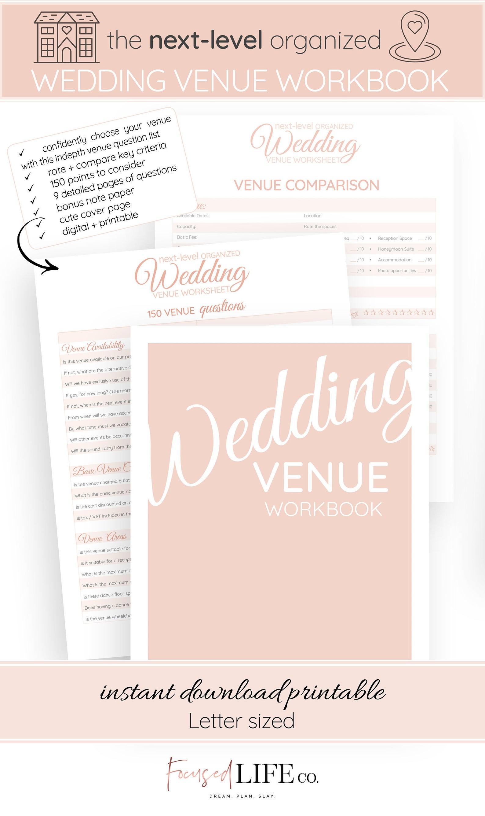 Wedding Venue Questions Workbook