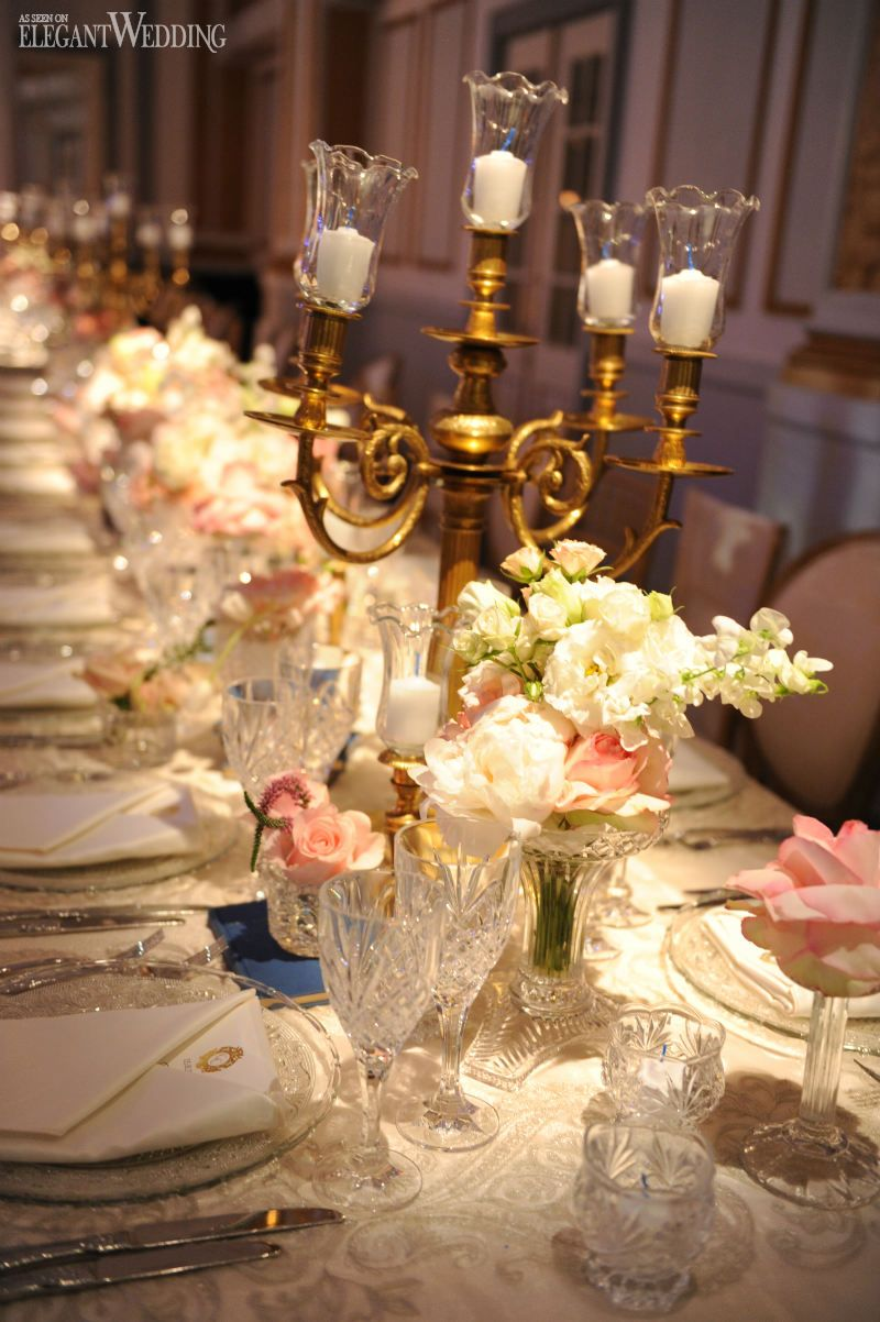 Elegant wedding decor and flowers, candlestick, table setting, place ...