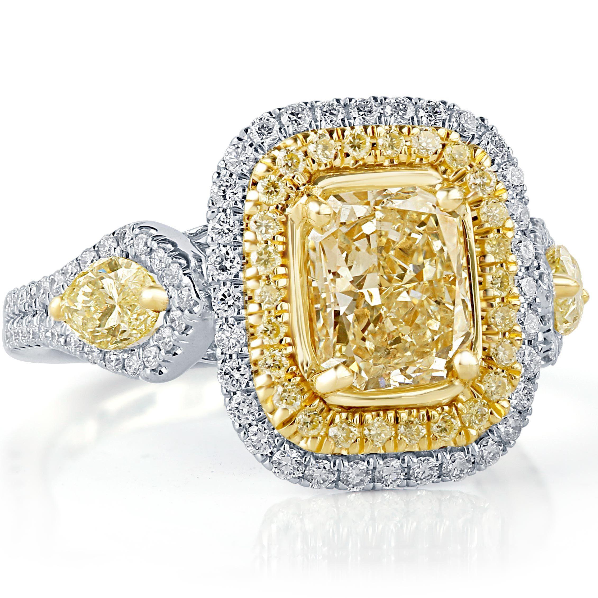ct radiant cut diamond engagement ring yellow diamond