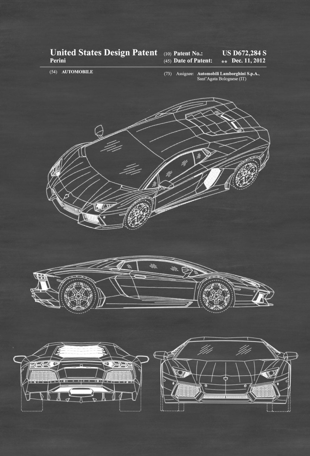 Lamborghini Patent – Patent Print, Wall Decor, Automobile Decor ...