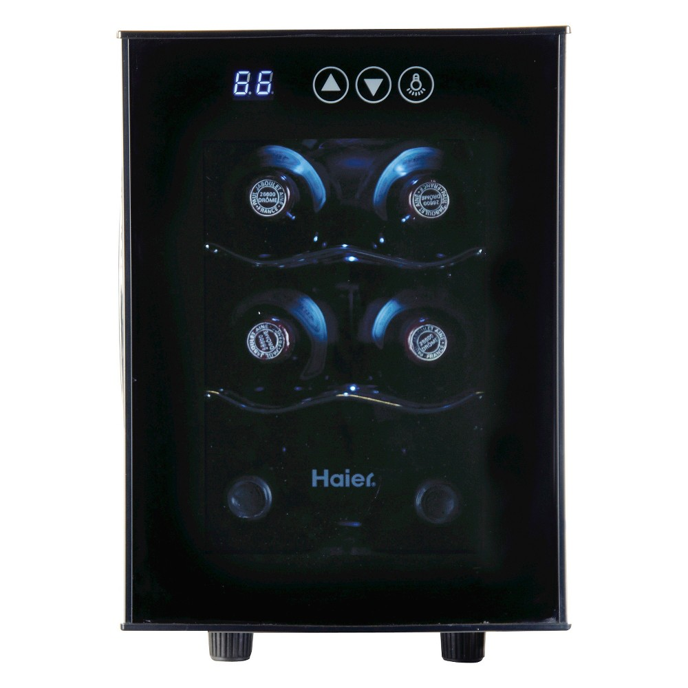 Haier 6 bottle Ultra Quiet Wine cellarBlackElectronic ControlsHVTEC06ABS, Black