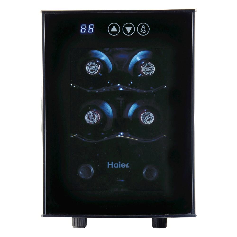 Haier 6 bottle Ultra Quiet Wine cellarBlackElectronic ControlsHVTEC06ABS, Black