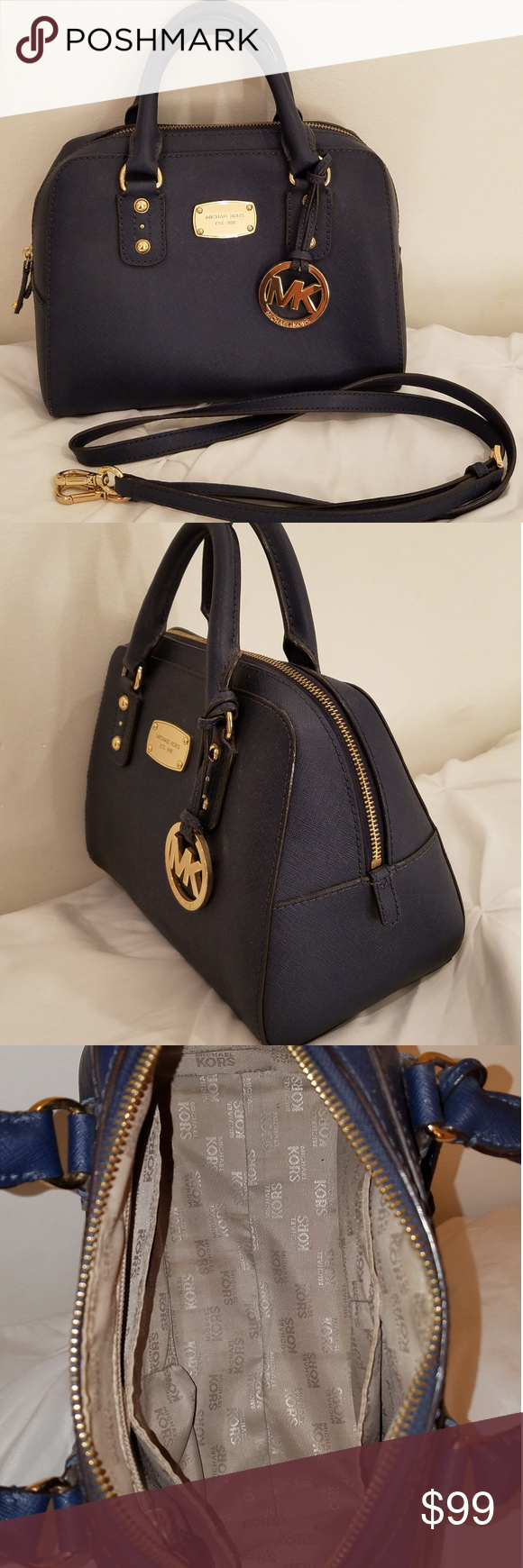 Michael Kors Small Saffiano Navy Blue/Gold Leather MK