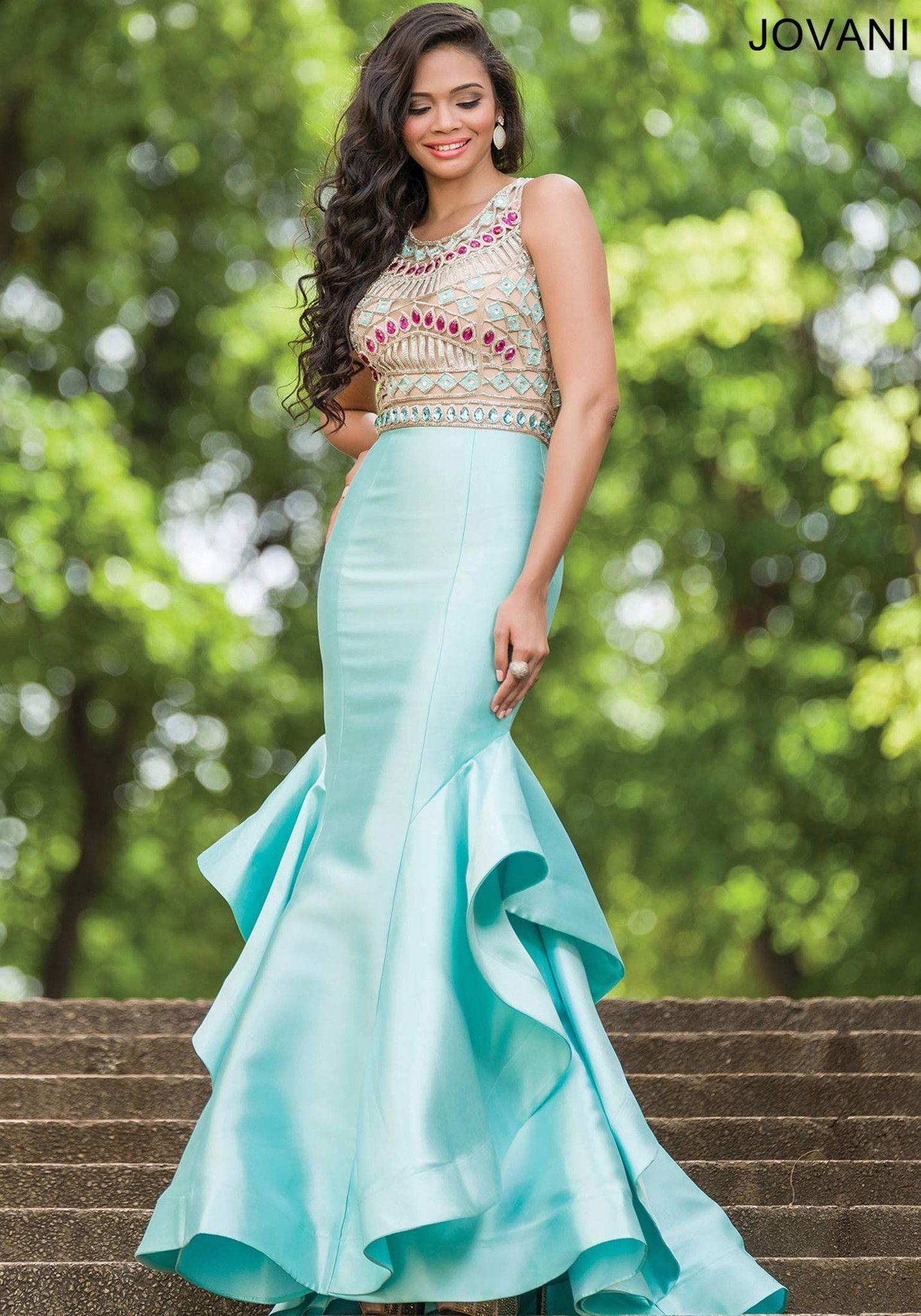 Jovani 28432 In Stock Size 10 Aqua/Multi Jeweled Mermaid Prom Dress ...