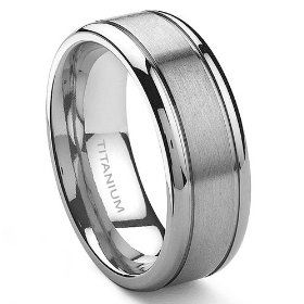 8mm satin polished titanium wedding band - Grooms Wedding Ring