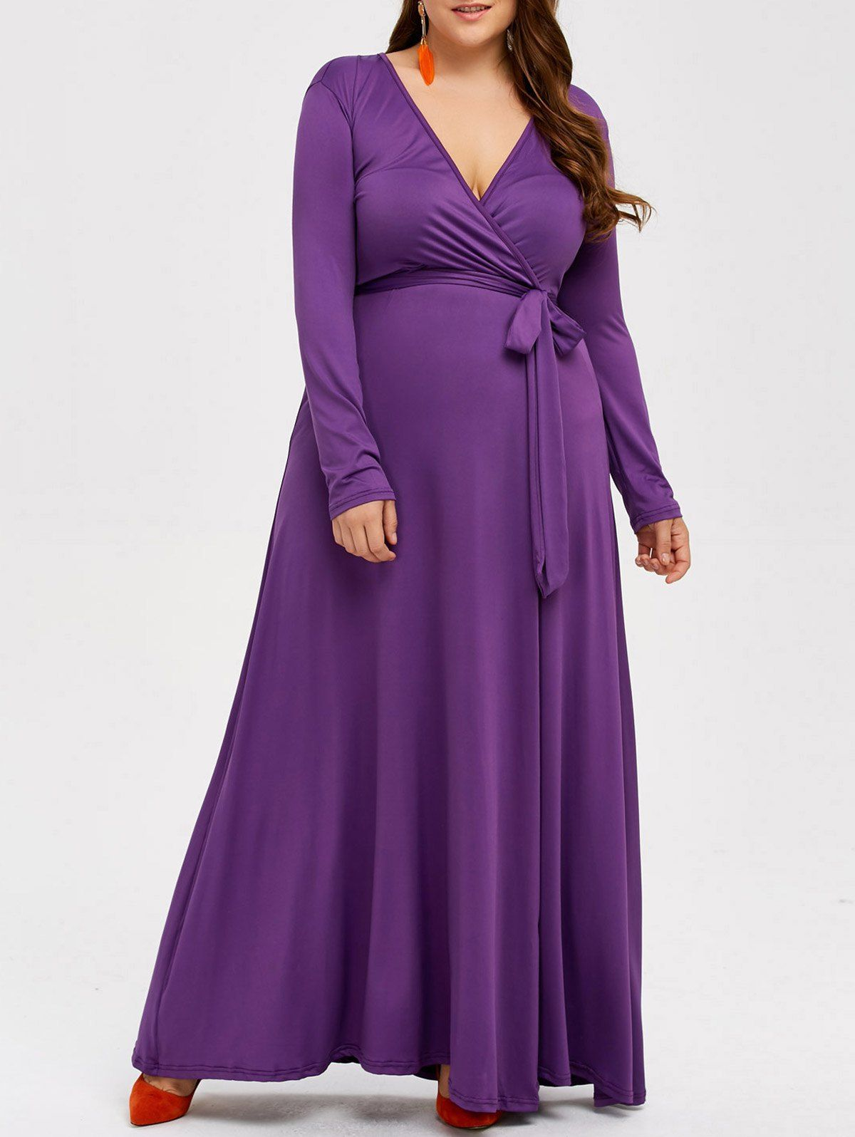 $15.65 Plus Size Wrap Maxi Dress | Purple maxi dress, Plain ...