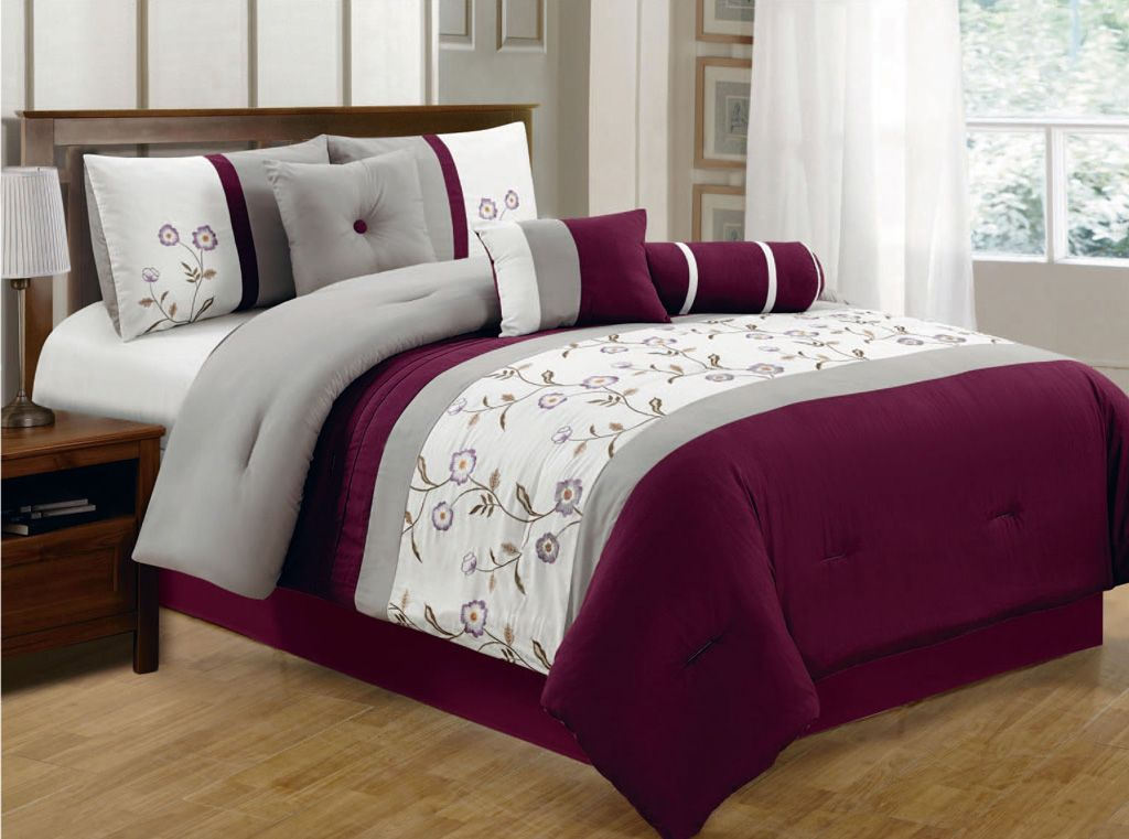 Best 7 Piece Queen Burgundy Gray Ivory Floral Embroidered 400 x 300