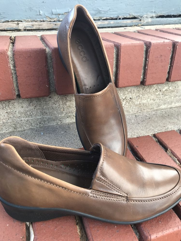 Ecco Loafers shock point Brown leather slip on shoes women's Size 39 US 8