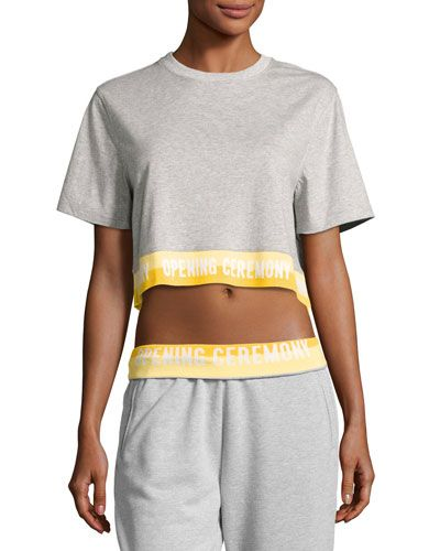 Clearance Fast Delivery Grey Elastic Logo T-Shirt Dress Opening Ceremony Outlet In China Clearance Cheap Top Quality Original LAcbV2zlea
