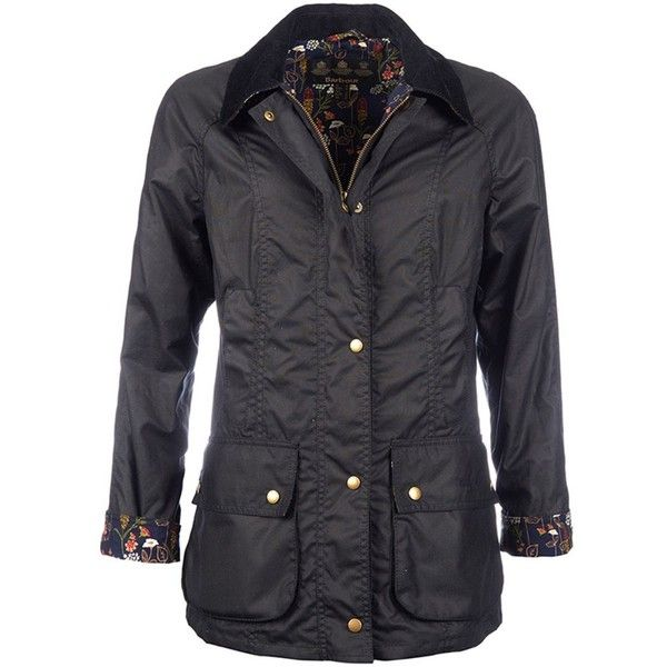 Women's Barbour Monteviot Wax Jacket - Navy ($315) ❤ liked on Polyvore featuring outerwear, jackets, cotton jacket, floral print jacket, navy jacket, flower print jacket and floral jacket