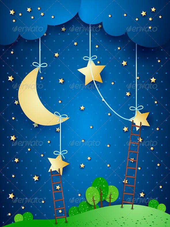Fantasy Landscape By Night School Wall Art Fantasy Illustration Baby Shower Decorations For Boys