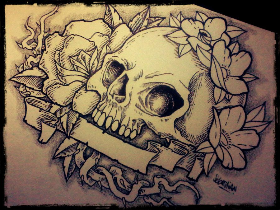Traditional Flower Line Drawing : Gothic skull drawings bing images skulls and bones art