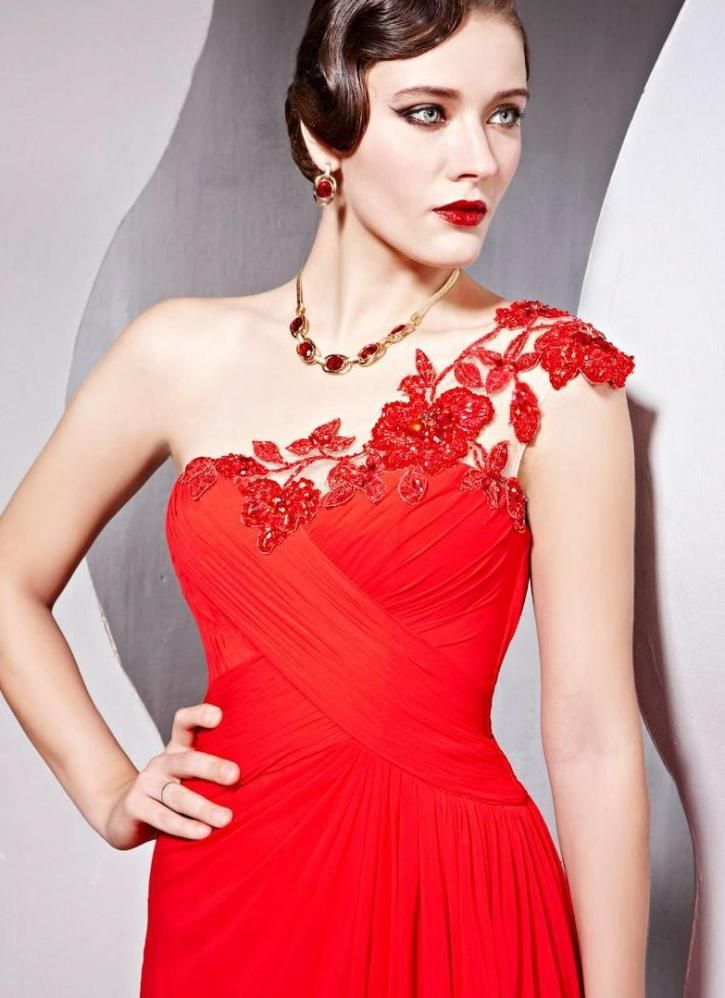 Ruched one shouldered red embroidered evening dress
