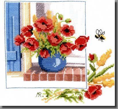 Grille point de croix fleur fleurs bouquet vase - Broderie point de croix grilles gratuites fleurs ...