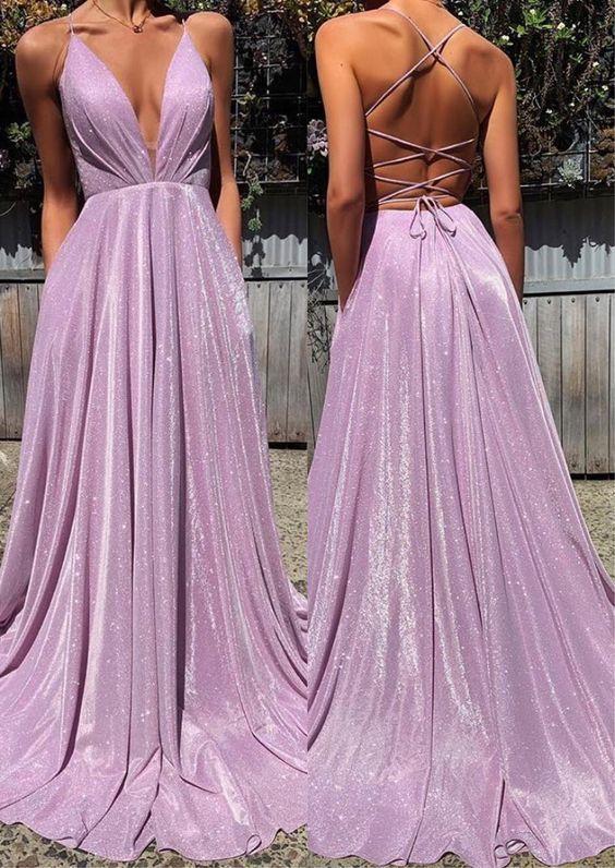 Charming Purple Spaghetti Straps V Neck Backless Prom Dress, Long Sleeveless Formal Evening Dress,P2655